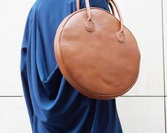 "SALE NEW "" Dark Pumpkin"" Genuine Leather Bag / High Quality  Tote Circle Large Bag / zipper close up /  Unique Bag by AAKASHA A14431"