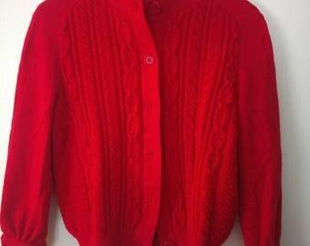Red Vintage Bleyle cardigan