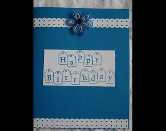Bright Blue Beaded Flower Birthday Single Card