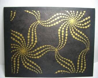 Gold Starfish on Black • 8-Card Box of Handmade Cards