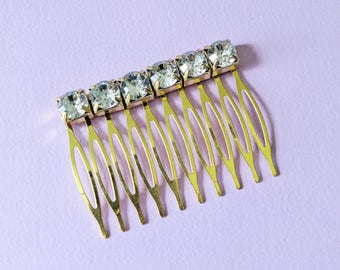 Crystal Hair Comb Bridal Hair Accessories Bridesmaids Gifts Gold and White Rhinestone Barrette Bridal Party Hair