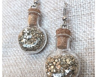 Golden Flakes Bottle Earrings