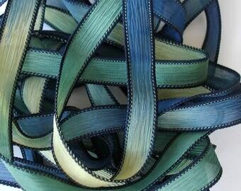 """5PC. BELOW SEA LEVEL 42"""" hand dyed wrap bracelet silk ribbon//Yoga wrist wrap bracelet ribbon//Hand dyed Boho Silk wrist wrap ribbon"""