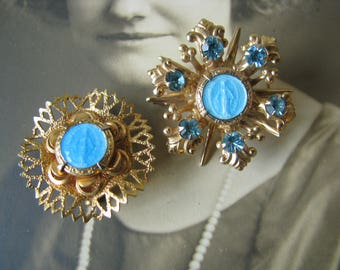 Beautiful Vintage Gold Plated Blue Rhinestones Enameled Rosary Catholic Medal Pins Brooches Religious Relics Catholic Jewelry