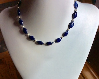 Lapis lazuli and freshwater pearl necklace