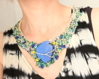 Blue Stone Necklace, Silver Statement Necklace, Bib Necklace Statement, Wire Wrapped Jewelry, Glass Bead Necklace, OOAK Artemissa Designs