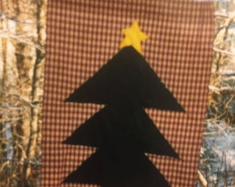 Folk art Christmas tree on red check