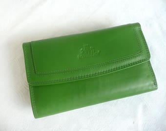 Vintage leather wallet - vintage designer wallet - green leather wallet - as new Rowallan leather wallet - Scottish leather organizer
