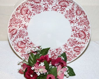 "Carefree True China by Syracuse  - ""Mayflower"" - Dinner Plate - White Background - Red Pattern - Restaurantware"