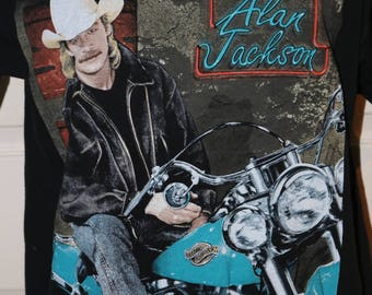 """1992 Alan Jackson """"A Lot About Livin, A Little About Love"""" Tour T-Shirt - Size XL - Fruit of the Loom - Contrasting Neck & Sleeves"""