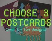 Any THREE Fandom Postcards