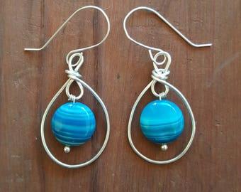 Blue Quartz Circle Bead Hook Bend Drop Earrings Argentium Silver Hooks
