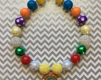 Raninbow chunky bubble necklace - chunky necklace multicolor necklace 20 mm beads necklace for girls