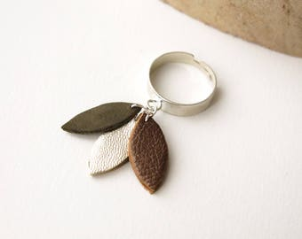 Ring, Petals, Leather, Khaki, Gold, Copper