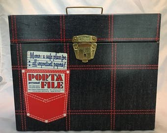 Metal Porta File with Key - 1970s - Denim with Red Stitching - Excellent Condition - Appears Unused