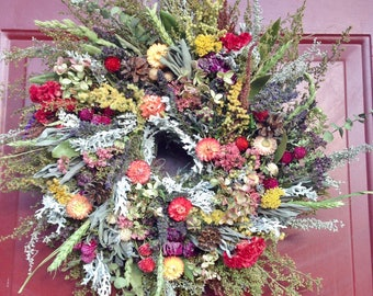 Dried Flower Wreath,Floral Wreath,Arrangement,Wreath,Herb Wreath,Dried Flowers,French Country,Farmhouse,Primitive,Rustic Decor