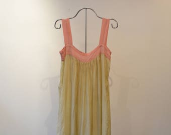 Gorgeous silk 1920's Nightgown. Full length, tank with gathered bodice. Pink and Pale yellow, Small