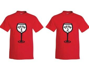 Drunk 1 and Drunk 2 Wine Shirt - Mens T-Shirt. Comfortblend Tee.