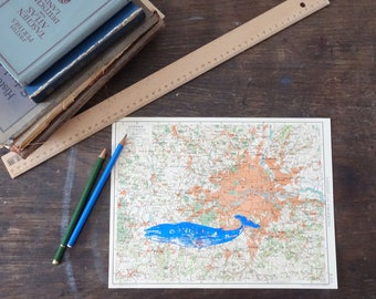 LONDON, printing whale blue on old Atlas page