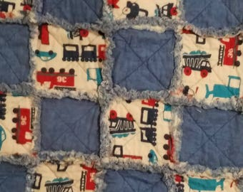 Blue and car, truck baby boy rag quilt
