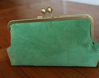 Green Corduroy Clutch Purse