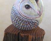 Barn Owl Rock on Cedar Post OOAK