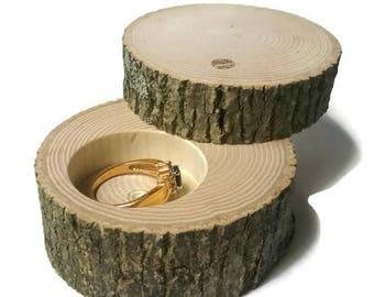 "Small Ash Wood Ring Box With Lid Proposal Box Rustic Ring Bearer ""Pillow"" Log Wedding Jewelry Custom"