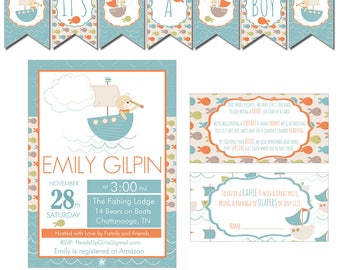 Digital Bears and Boats in Blue Baby Shower Decorations Package Banner, Games, Diaper Raffle, Cupcake Toppers, Water Labels CPP014