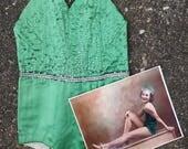 Vintage 1930's 40's Starlet Dance Costume // Girls Vtg Leotard // 1940s Rhinestones // Costume with Original Photo