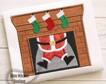 Santa in Chimney - Stockings - Christmas Custom Tee Shirt - Customizable