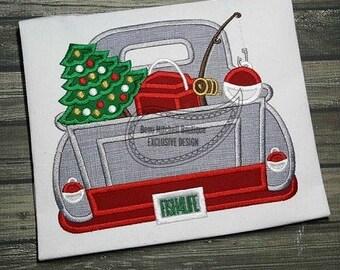Christmas Tree and Fishing Vintage Truck Custom Tee Shirt - Customizable 59