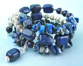 Lapis Lazuli/Small Size/Memory Wire Bracelet/Semi Precious Stones/Silver Toned Beads/Brilliant Blues/Wire Wrapped Charms/Multi Strand/Gift