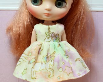 BLYTHE Middie doll Its my party dress - Japanese double gauze day unicorns