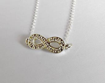 Infinity necklace sterling silver, infinity necklace, infinity jewelry, sterling silver, infinity, silver infinity, silver necklace, K8027