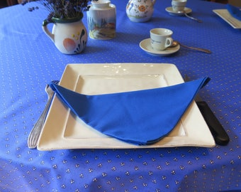 "Round tablecloth.61"" diameter.Provence coated Oilcloth. CHOOSE THE COLOR!. Fabric from Provence, France.Blue or terra cotta all over."