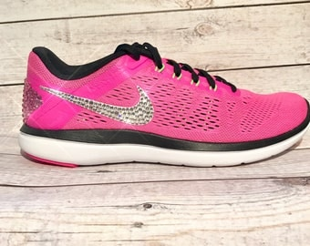 bling nike shoes- bling nikes- hot pink bling nikes- sparkly nikes- pink bling nikes- crystal nike shoes- crystal nikes- bling running shoes