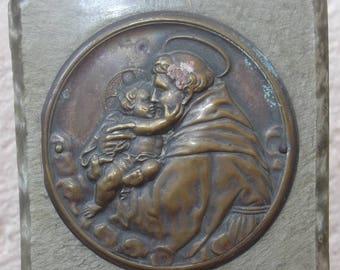 SUMMER SALE Antique S. Antony, Jesus Child, Stamped Plate, Religious Standing Plaque, Embossed Plaque, Shrine, Altar, Devotional, Ex Voto