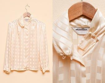 Ivory Blouse // Long Sleeve Cream Blouse // 1980s Objectives Silky Feminine Loose Fit Bohemian Sheer Top Size Small Medium