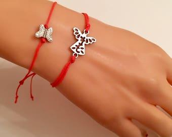 Butterfly Angel Charm Bracelet on string ,Orrange Cord  Angel Bracelet, Pink Jewelry,Cute Bracelet , Birthday Gifts, Gift for Mom