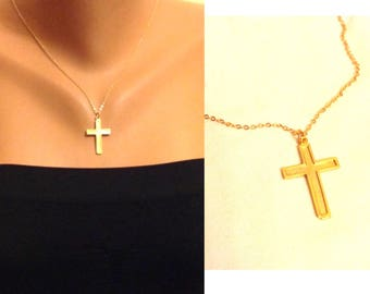 40%Sale, Gold Cross Necklace, Patriotic Necklace, Religious Jewelry, Blessing, Cross Charm, Baptism Gifts, Christmas Gift, Gift for mom,