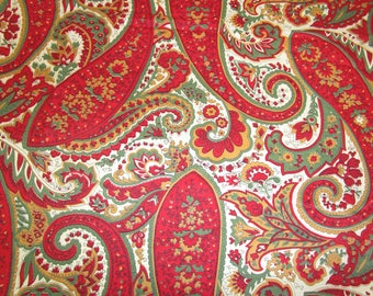 "40s 37"" x 3.4 yds Paisley Cotton Broadcloth Red Green Mustard"