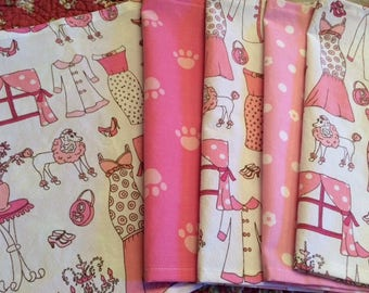 Kids Cloth Napkins School Lunchbox, Set of 5, Pink, Poodle, French Theme, Perfect for Little Girls, by CHOW with ME