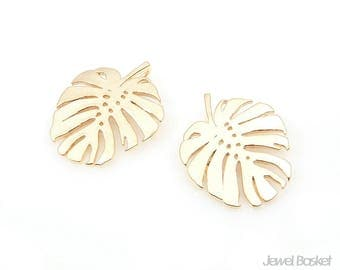 Monstera Leaf in Matte Gold / Swiss-Cheese Plant / 16.0mm x 19.0mm / BMG346-P (2pcs)