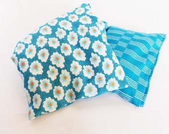 Heating pad flax organic 36 cm x 15 cm fabrics patterns blue daisies and turquoise lines