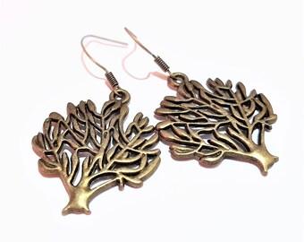 Tree charm bronze earrings women casual jewelry