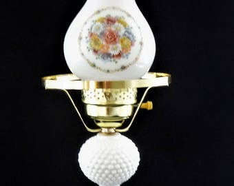 Vintage Hobnail Lamp With Floral Decor, Daisies, Roses and Peonies