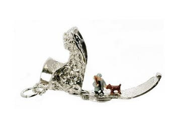 Sterling Silver Large Opening One Man & His Dog Boot Charm For Bracelets