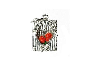 Sterling Silver Opening Roses Greetings Card Charm For Bracelets