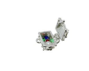 Sterling Silver Opening Jewelled Treasure Chest Charm For Bracelets