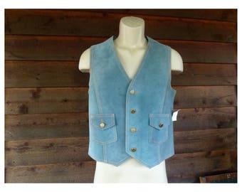 Vintage 60s pale blue Suede Leather Waistcoat Vest, WestCal 45, Size M